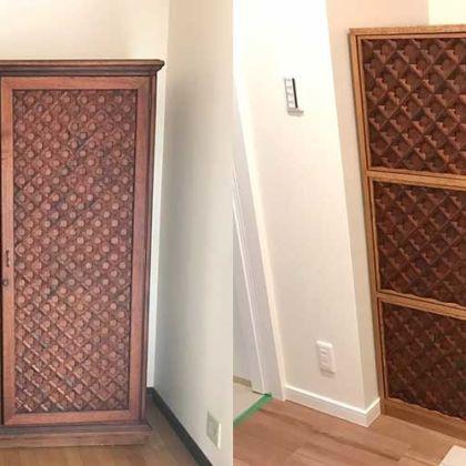 チーク材の婚礼タンス扉を3枚扉のキャビネットに 家具リメイク事例:R200 Before&After