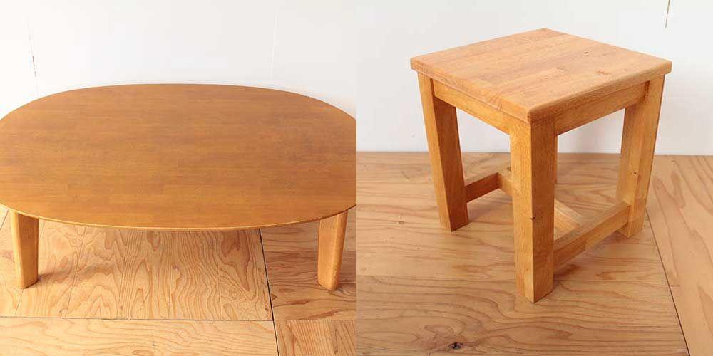 楕円形のローテーブルを玄関用スツールに 家具リメイク事例:R202 Before & After