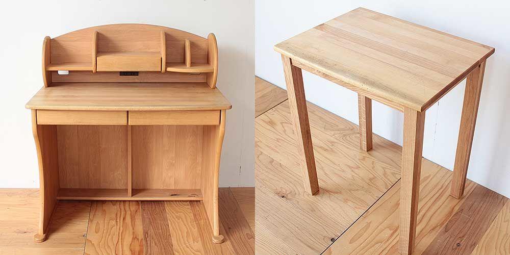 無垢アルダー材の学習机を飾り棚兼デスクに 家具リメイク事例:R206 Before & After