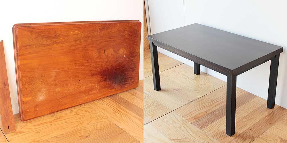 無垢チーク材でできたアジアン家具のテーブルをモダンにリメイク 家具リメイク事例:R210 Before & After