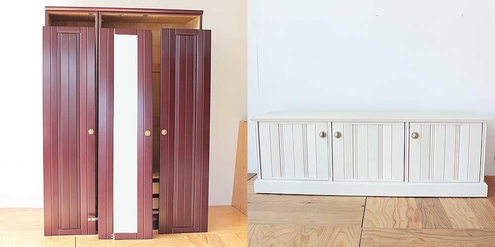 洋タンスを扉のデザインを生かしたテレビボードに 家具リメイク事例:R216 Before & After