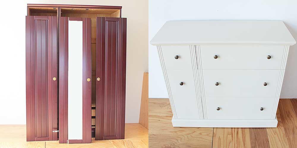 洋タンスを収納力たっぷり引き出しキャビネットに 家具リメイク事例:R217 Before & After