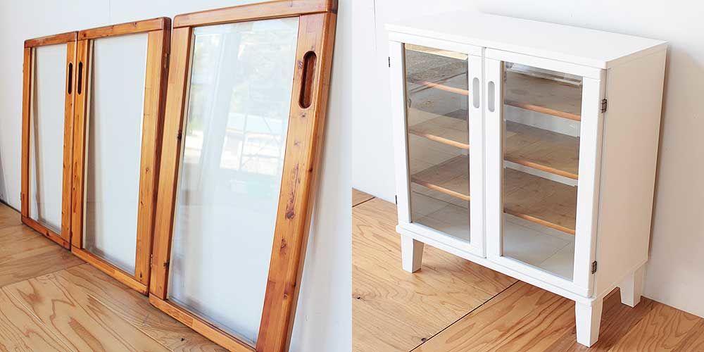 カントリー調のパイン材製食器棚をケビント風に 家具リメイク事例:R219 Before & After