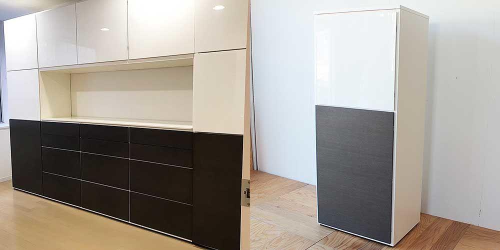 壁面収納家具を分割した縦長キャビネット 家具リメイク事例:R223 Before&after