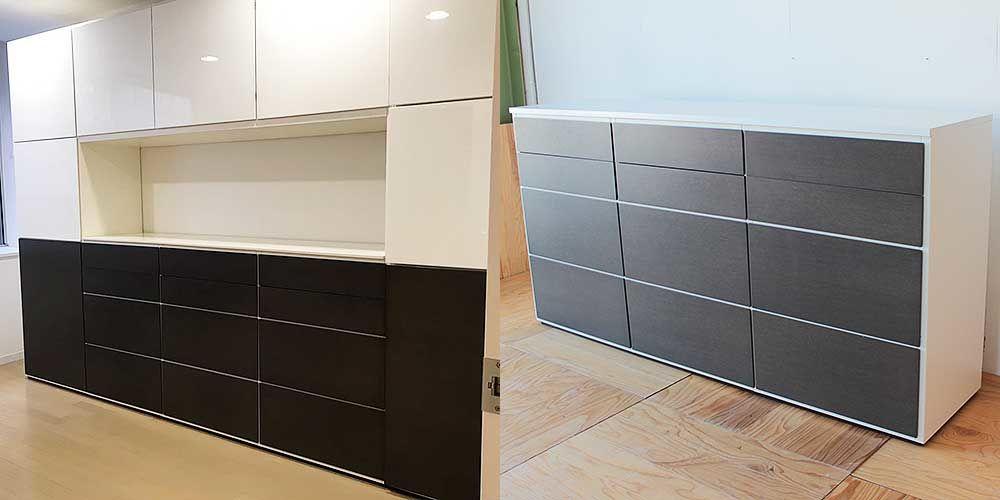 壁面収納家具を分割した引き出し収納家具 家具リメイク事例:R224 Before&after