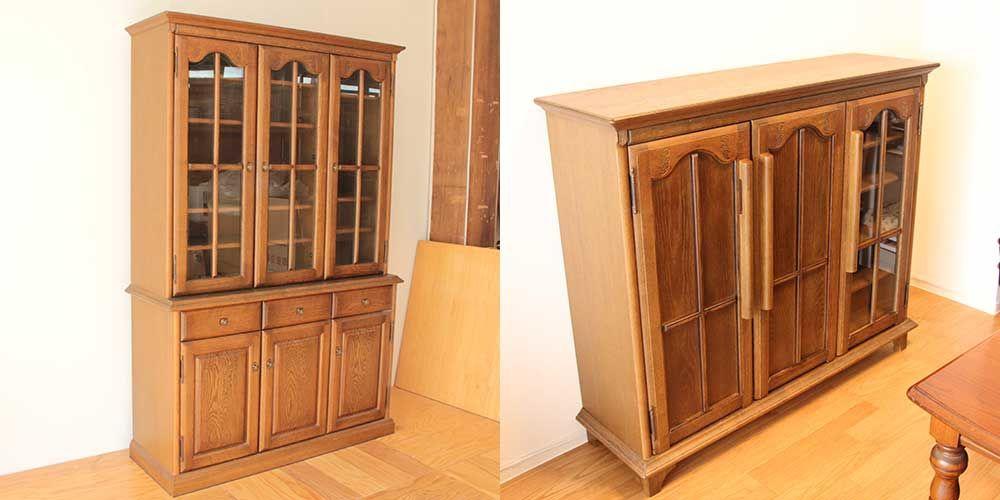 ガラス扉のカップボードを低くしてキャビネットに 家具リメイク事例:R228 Before&after