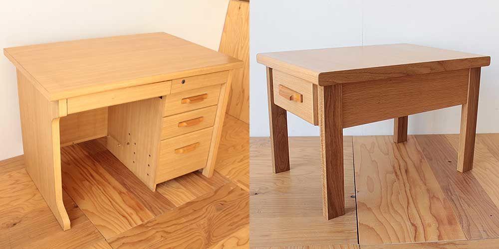 学習机の引き出しを生かして収納付きリビングテーブルに 家具リメイク事例:R229 Before&after