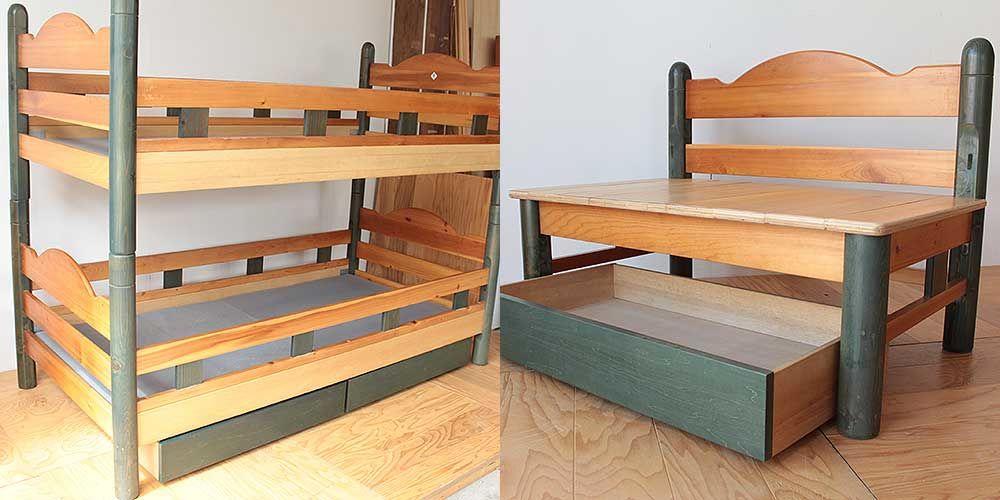 木製2段ベッドの部材だけを使ってベンチに 家具リメイク事例:R230 Before&after