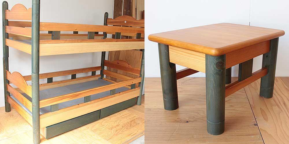 木製2段ベッドの部材を使ってテーブルに 家具リメイク事例:R220 Before&after