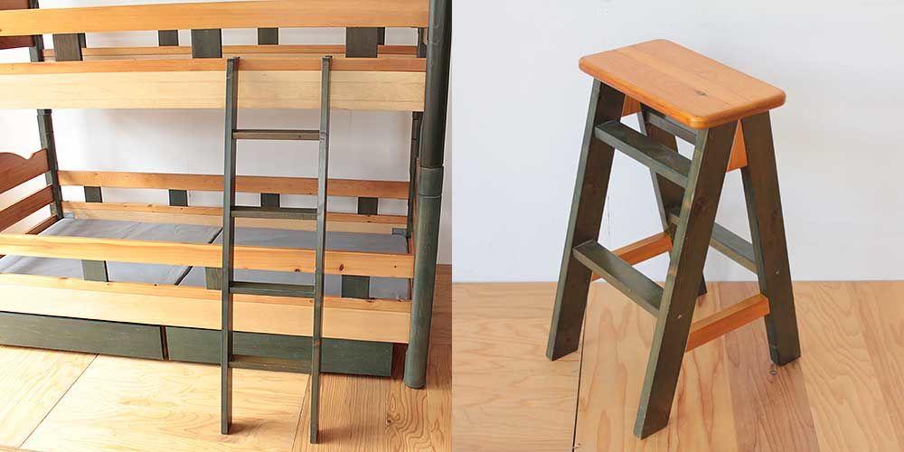 2段ベッドの梯子を使って踏み台に 家具リメイク事例:R231 Before&after