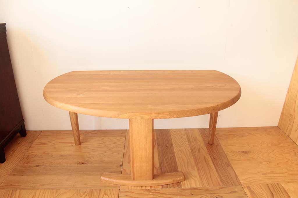 半円形の無垢オークのダイニングテーブルをサイドテーブルに リメイク前