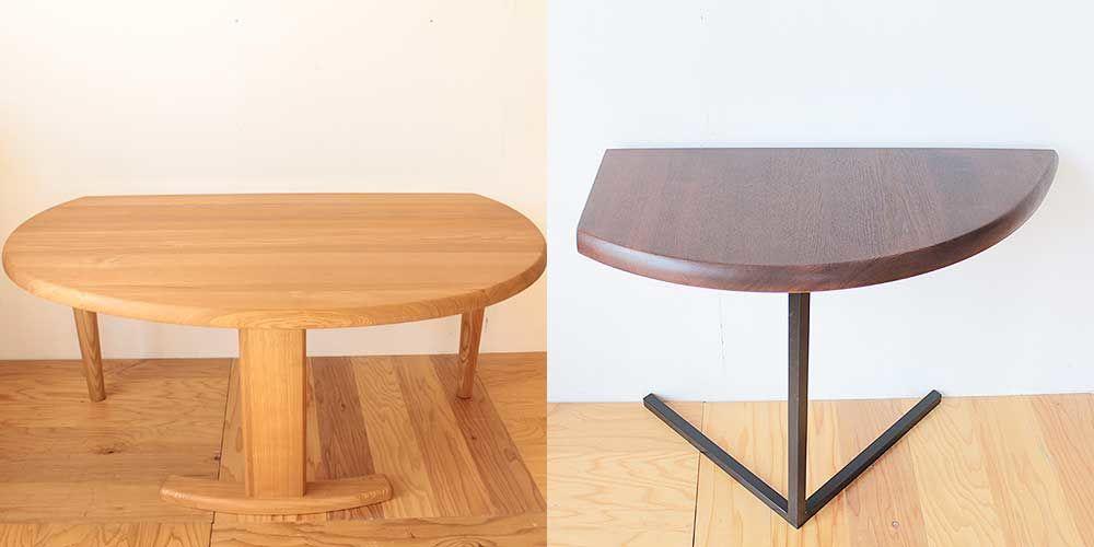 半円テーブルを肘掛の高さに合わせたソファ横テーブルに 家具リメイク事例:R237 Before&After