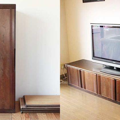 婚礼タンスの扉を分割してテレビボードの扉に 家具リメイク事例:R238 Before&after