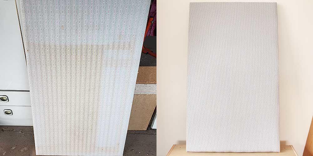 汚れたベビーベッドの床板を張り替え 家具リメイク事例:R239 Before&after