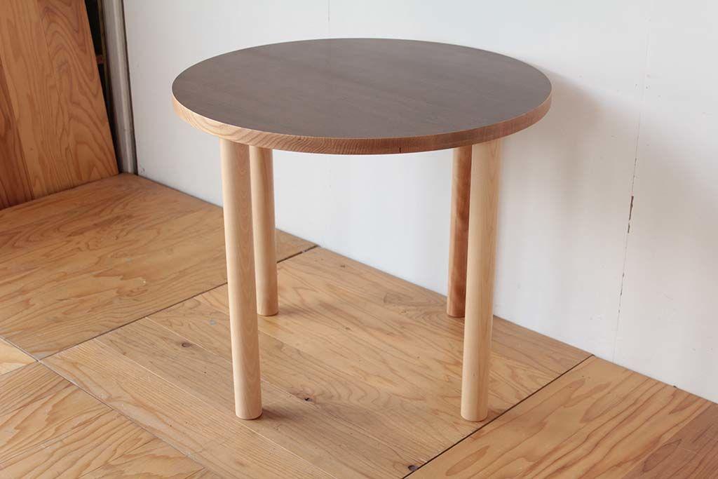 長方形の座卓を円形天板&丸脚のテーブルにリメイク