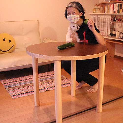 長方形の座卓を円形テーブルにリメイク 納品写真
