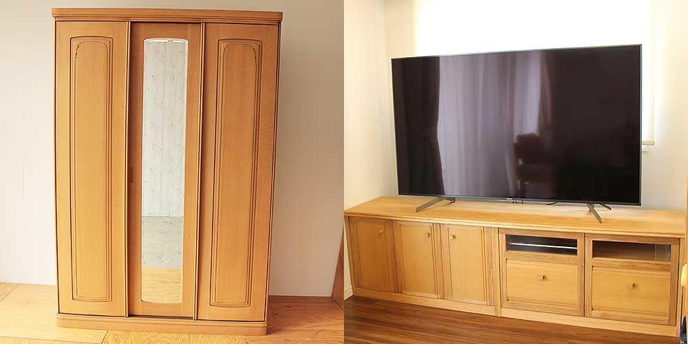 ナラ材製婚礼タンスをテレビボードに 家具リメイク事例:R241 Before&after