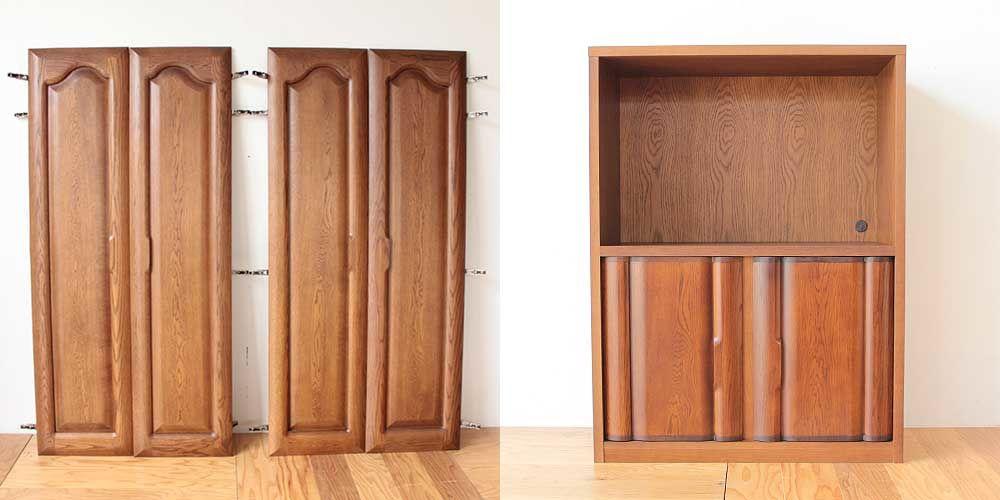 婚礼家具クローゼットの扉をカットしてテレビラックの扉に 家具リメイク事例:R242 Before & After