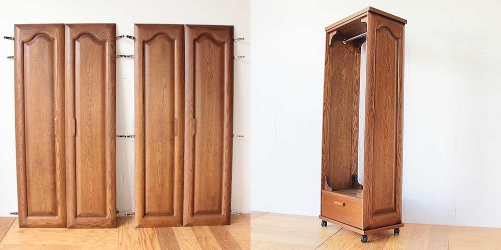 婚礼タンスの扉とベッドフレームを組み合わせ洋服ラックに 家具リメイク事例:R243 Before&after