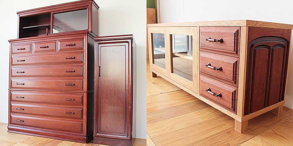 婚礼タンスの紫檀材を生かしてテレビボードに 家具リメイク事例:R246 Before&after