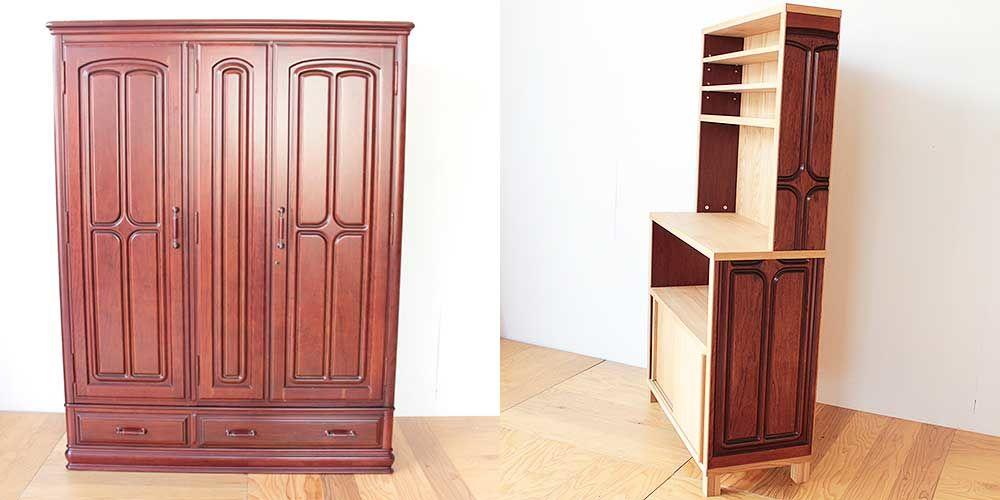婚礼タンスの紫檀製部材を使ってキッチンボードに 家具リメイク事例:R247 Before&after