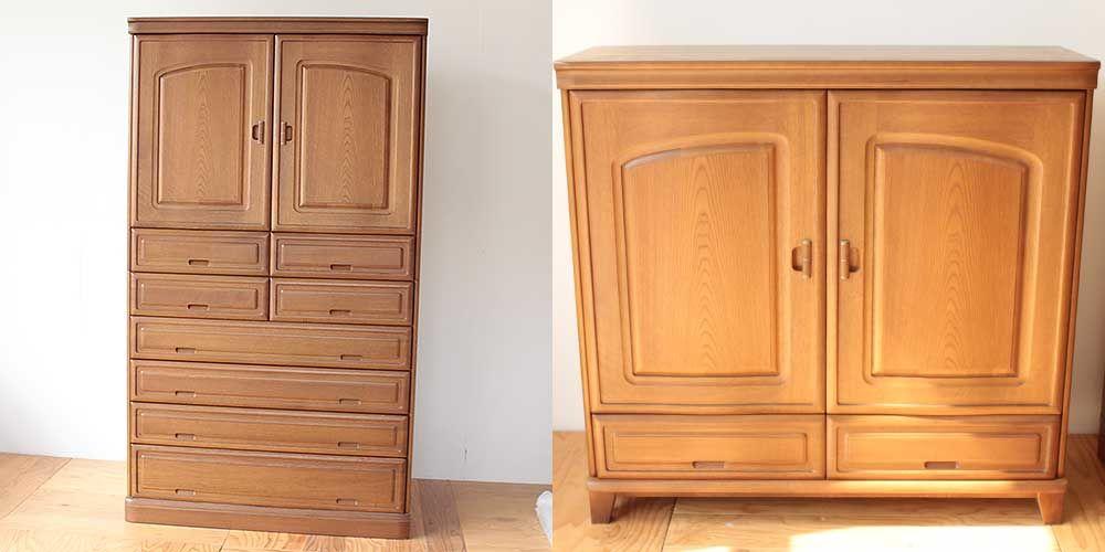 婚礼タンスを分割して上半分をキャビネットに 家具リメイク事例:R248 Before&after
