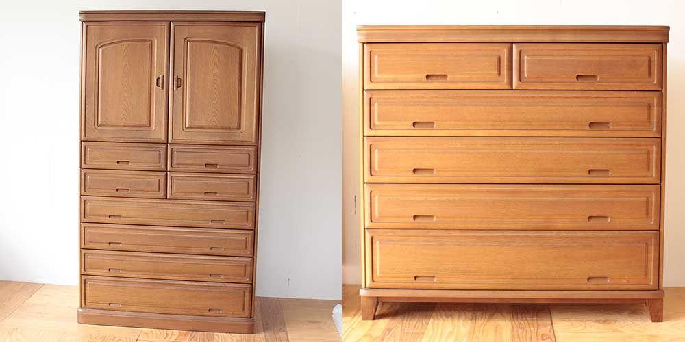 婚礼和タンスを分割して下半分を引き出し式キャビネットに 家具リメイク事例:R249 Before&after