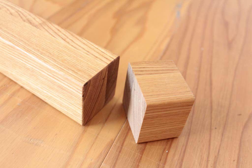 テーブル脚の下をカットして高さを低く