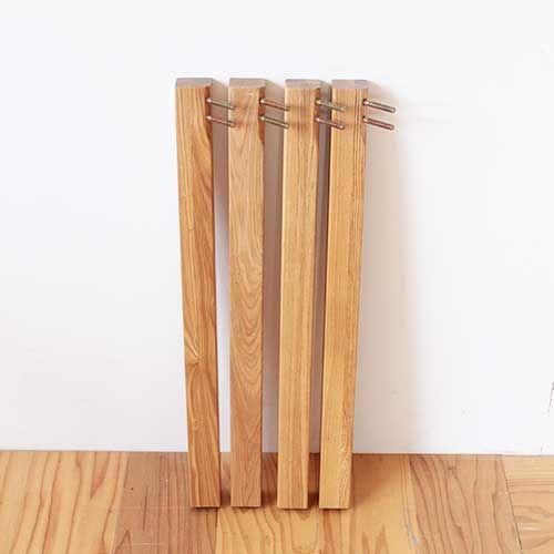 テーブル脚の金具部分はそのまま下部をカットして高さ調節