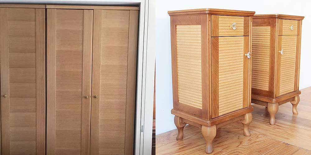 クローゼット扉の模様を生かし2台の猫脚キャビネットに 家具リメイク事例:R256 Before&After