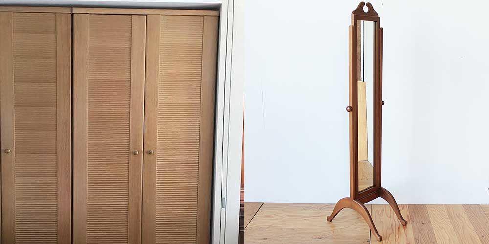 婚礼家具クローゼットのミラーから姿見へリメイク 家具リメイク事例:R257 Before&after