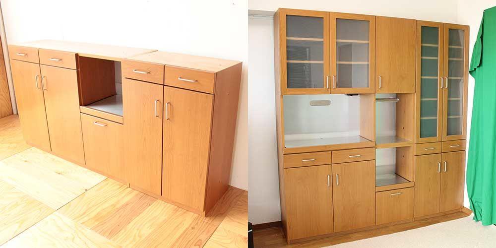 梁に収まるサイズに食器棚をリサイズリメイク 家具リメイク事例:R259 Before&after