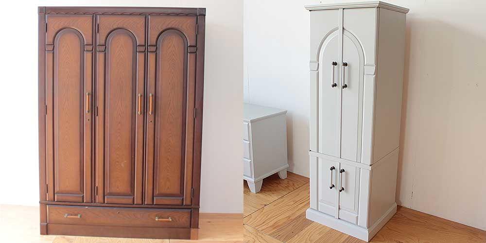 婚礼タンスを面影残しながら創価学会のお仏壇に 家具リメイク事例:R261 Before & After