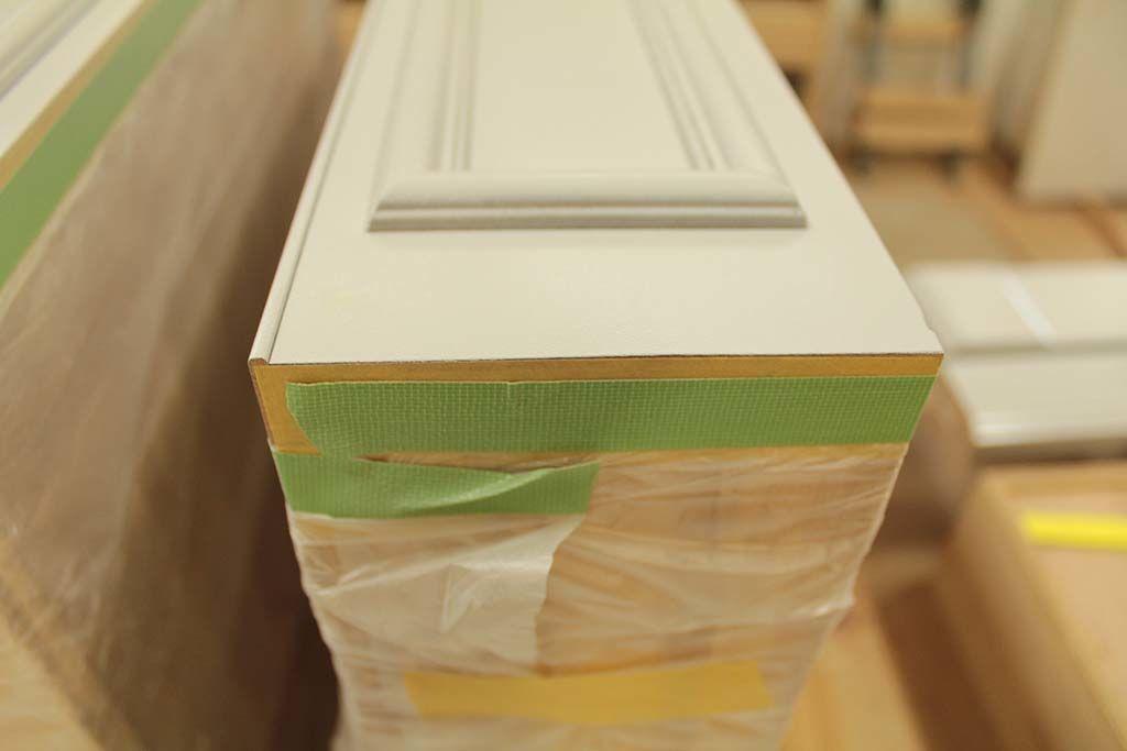 婚礼家具3枚扉クローゼットからホワイト電話台へリメイク引き出し塗装