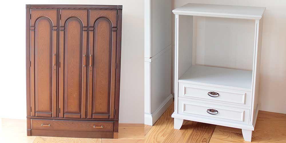 婚礼家具3枚扉クローゼットからホワイト電話台へリメイク 家具リメイク事例:R263 Before&after
