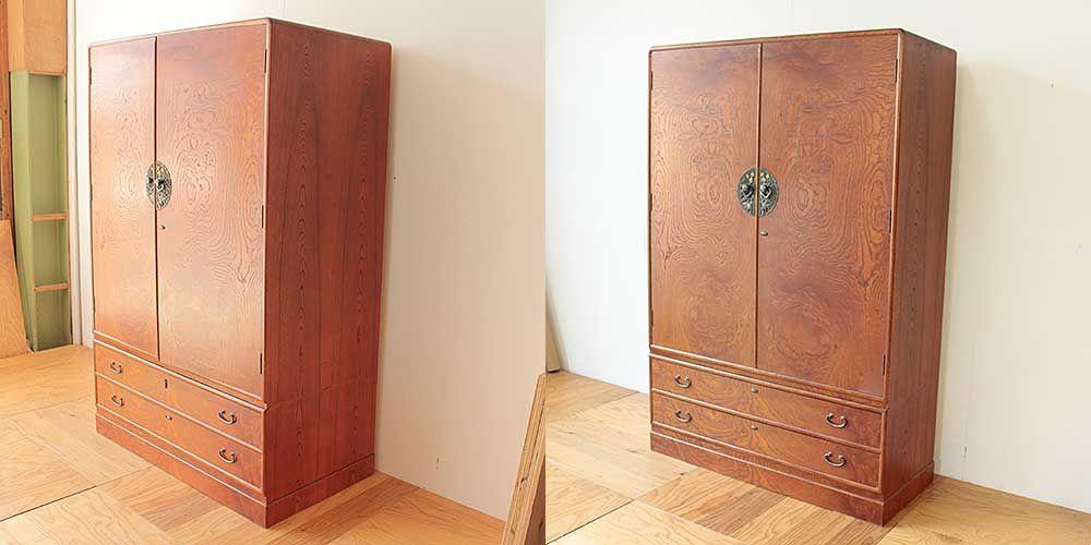 洋服箪笥の奥行きを小さくリサイズリメイク 家具リメイク事例:R264 Before&after