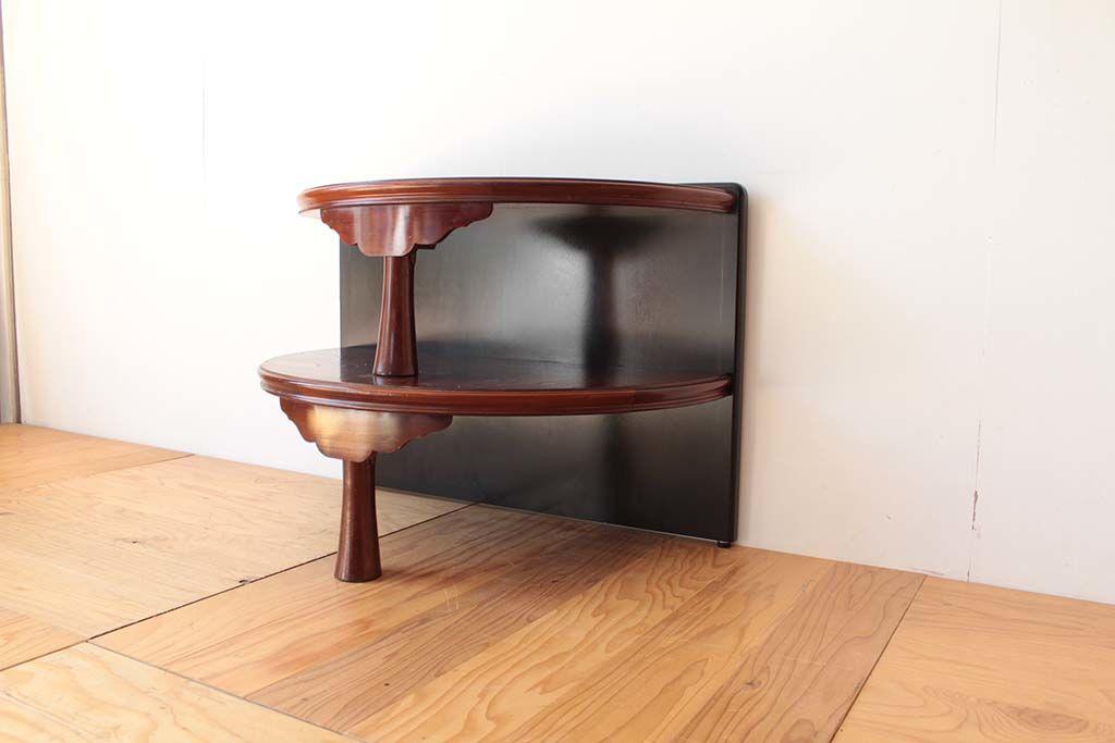 丸ちゃぶ台を半円形のお仏壇台にリメイク背面黒で和モダン仕上げ
