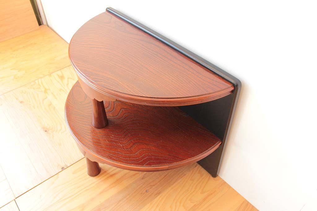 丸ちゃぶ台を半円形の2段の飾り台