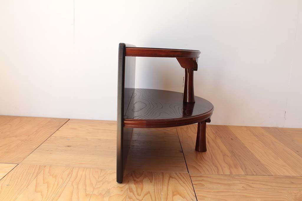 丸ちゃぶ台を半円形のお仏壇台にリメイク横から