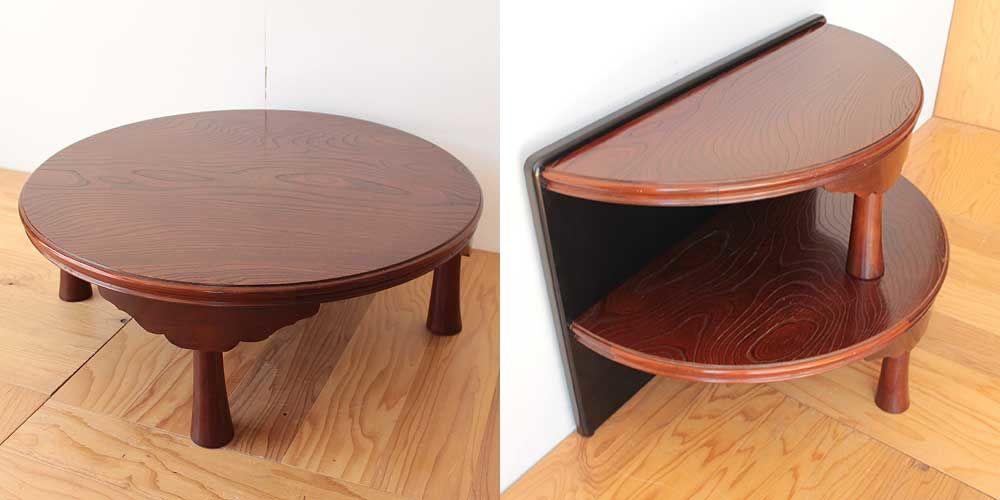 円形のちゃぶ台を半円形のお仏壇台に 家具リメイク事例:R268 Before & After