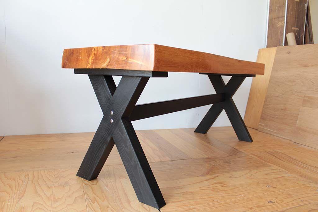 無垢座卓をダイニングテーブルにリメイク脚は無垢オーク材の木目のわかる塗装