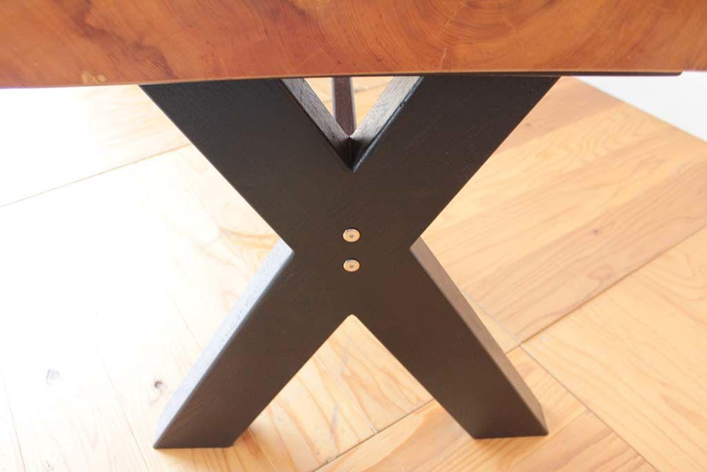 無垢座卓をダイニングテーブルにリメイク脚は黒色のX脚