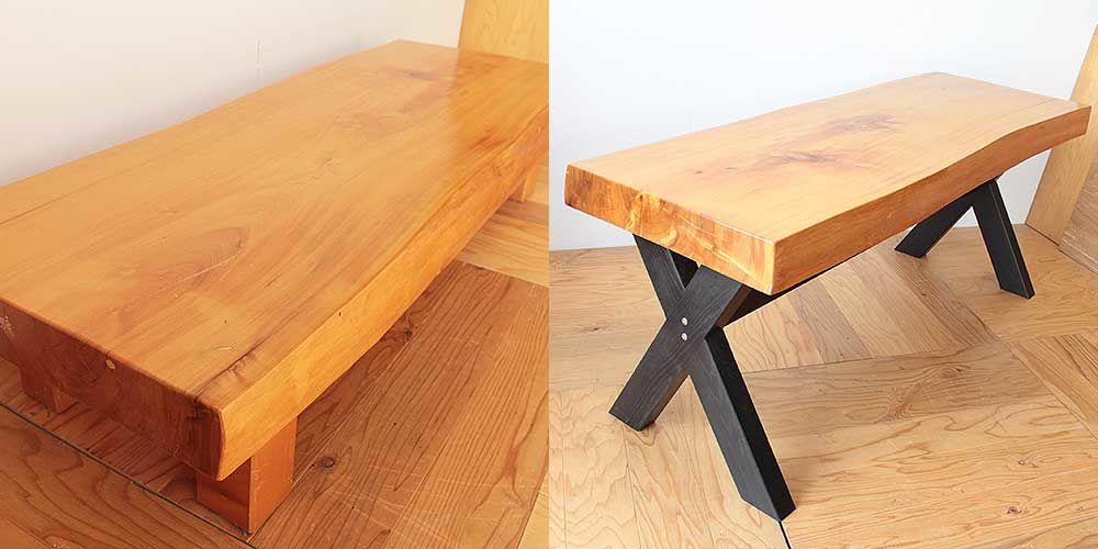 無垢座卓をダイニングテーブルにリメイク 家具リメイク事例:R272 Before&after