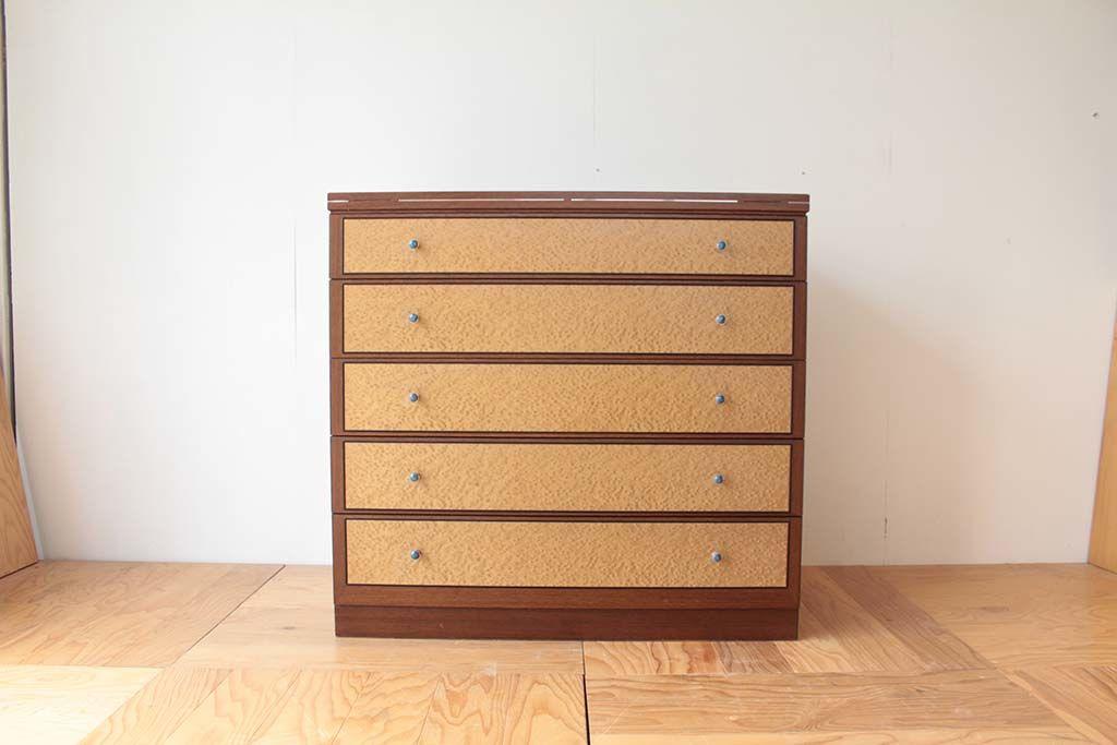 リメイク元婚礼家具バーズアイメープル5段整理箪笥