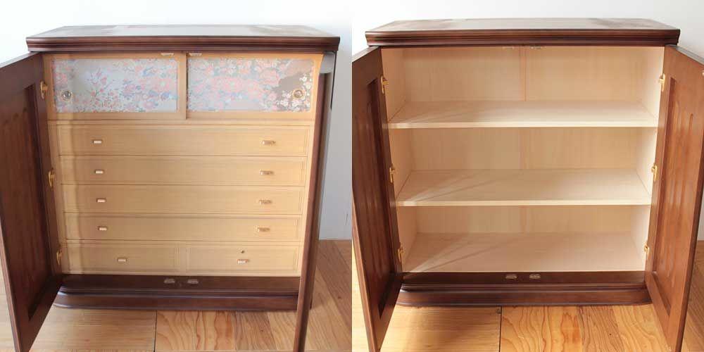 婚礼家具和箪笥をキャビネットへリメイク 家具リメイク事例:R277 Before&after