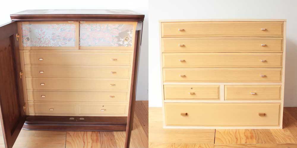 婚礼家具和箪笥を押し入れに収まるコンパクトサイズにリメイク 家具リメイク事例:R278 Before&after