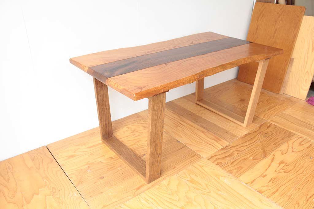 無垢天板のローテーブルをダイニングテーブルにリメイクナチュラル仕上げ