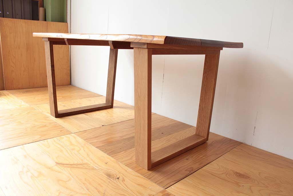 無垢天板のローテーブルをダイニングテーブルにリメイクオーク材ロの字脚
