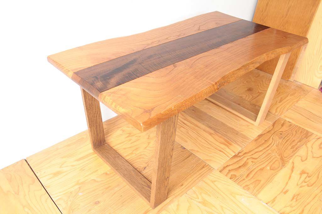 無垢天板のローテーブルをダイニングテーブルにリメイクオーク材脚