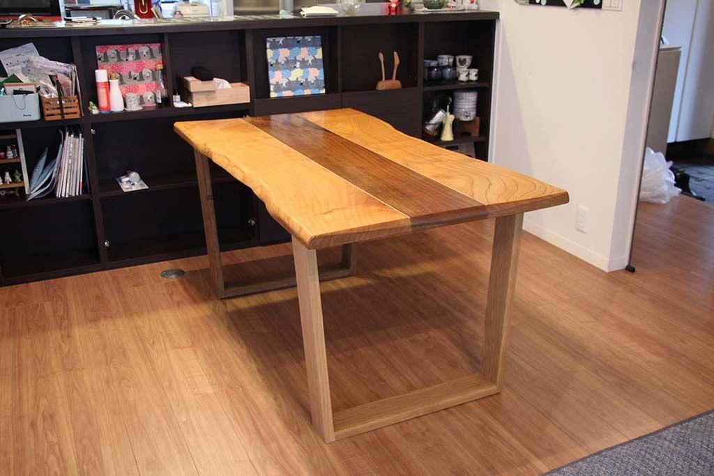 無垢天板のローテーブルをダイニングテーブルにリメイク納品画像
